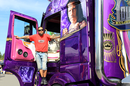 ALAHARMA, FINLAND - AUGUST 11, 2017: Finnish custom truck builder and haulier Mika Auvinen with his new super truck Mercedes-Benz Actros Lowrider on arrival to Power Truck Show 2017, for the premiere of Lowrider. Editorial