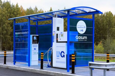 JYVASKYLA, FINLAND - SEPTEMBER 22, 2017: LNG, Liquified natural gas dispenser for heavy duty vehicles at Gasum filling station in Jyvaskyla, Finland.