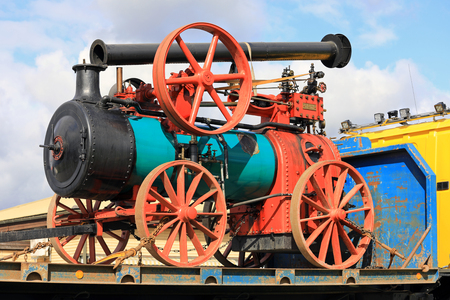KOSKI TL, FINLAND - SEPTEMBER 1, 2017: Steam Traction Engine by Ruston, Proctor & Co, probably year 1899 transported on vehicle trailer in South of Finland.