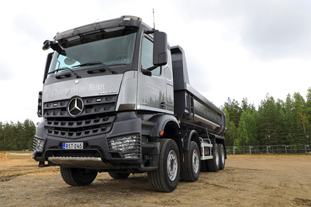 HYVINKAA, FINLAND - SEPTEMBER 8, 2017: Mercedes-Benz Arocs 3745 4 axle tipper truck on display on Maxpo 2017. Editorial