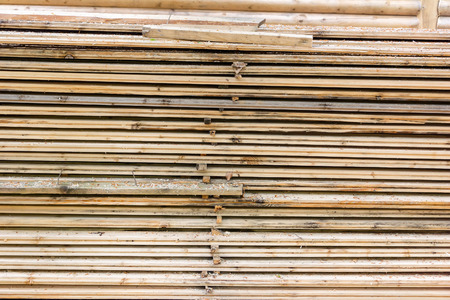 sawn: Selection of freshly sawn timber material. Wooden beam