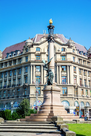 lemberg: Lviv, Ukraine - July 11, 2015: Monument to  poet Adam Mickiewicz. Lviv center Editorial