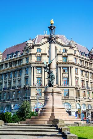publicist: Lviv, Ukraine - July 11, 2015: Monument to  poet Adam Mickiewicz. Lviv center Editorial