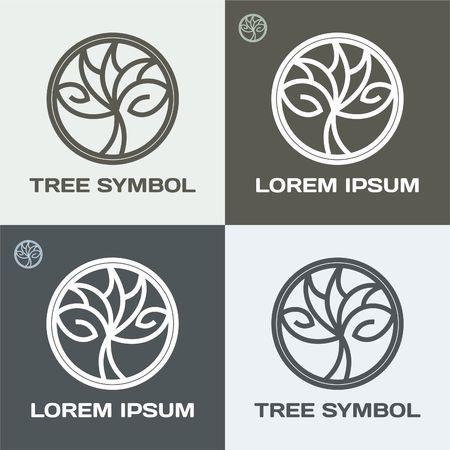 Vector  circle tree logo design. Eco concept. Vector Illustration