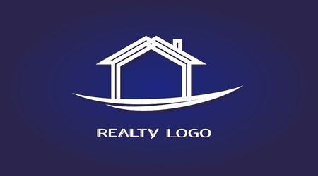 Vector realty house icon, logo for the company isolated.
