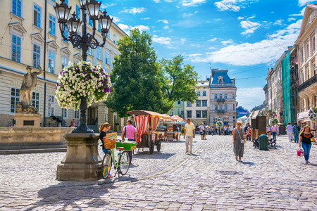 Lviv, Ukraine - August 3, 2015: The corner of Rynok Square and view of City Hall