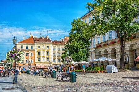 Lviv, Ukraine - August 3, 2015: The corner of Rynok Square and view of City Hall