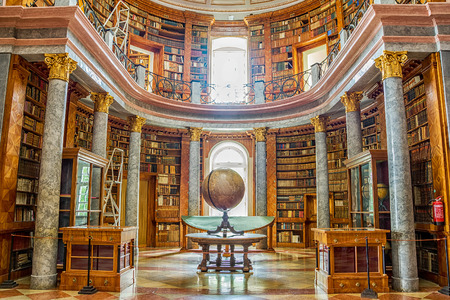 Pannonhalma, Hungary - June 27, 2016: Pannonhalma Abbey library interior in Hungary. Editorial