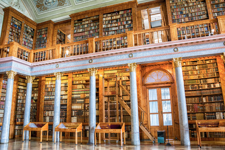 theological: Pannonhalma, Hungary - June 27, 2016: Pannonhalma Abbey library interior in Hungary. Editorial