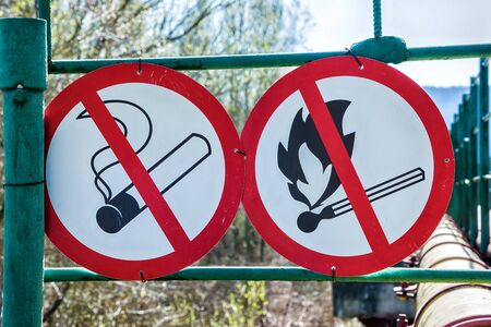 flammable warning: Flammable material warning signs. No smoke, no fire
