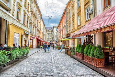 Lviv, Ukraine - August 11, 2016: Staroievreiska St., city center, Lviv, Ukraine