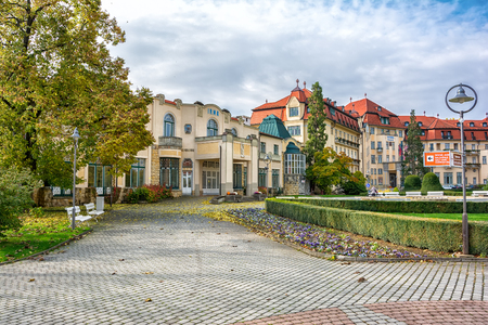 therapy geothermal: Piestany, Hungary - October 23, 2016: Piestany Spa Island, thermal resort Irma Editorial