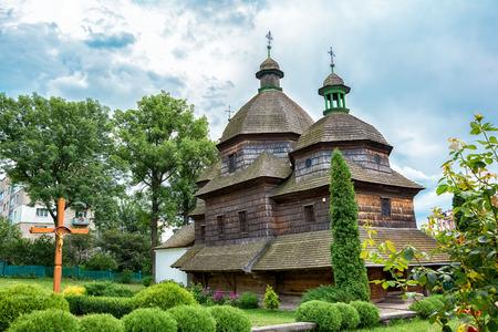 Wooden Holy Trinity Church in Zhovkva. UNESCO World Heritage Stock Photo
