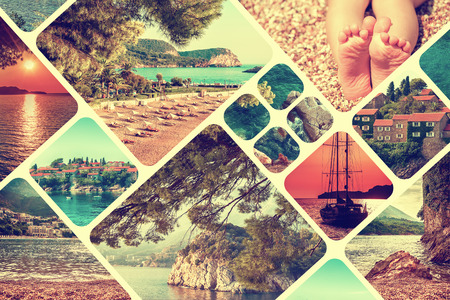 hotel building: The collage of Montenegro landscape in summer. Travel vacation background. Vintage toned