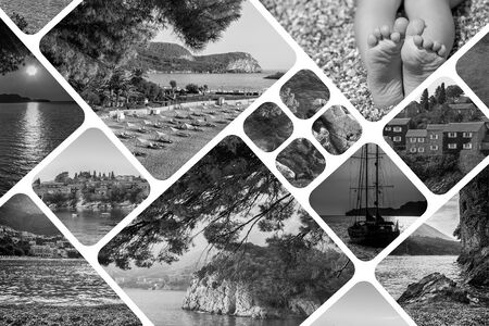 scenery set: The collage of Montenegro landscape in summer. Travel vacation background. Black and white