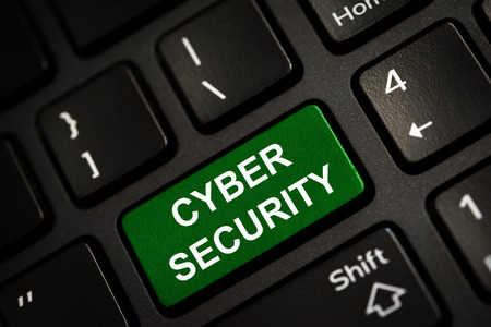 Message on green enter key of keyboard. Computer cyber security concept. Copy space