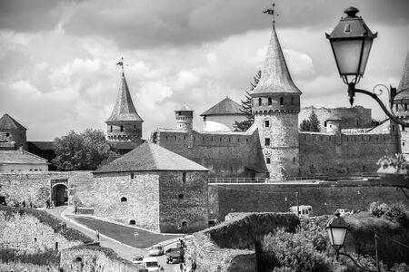 Kamyanets-Podilskyi, Ukraine - May 15, 2015: Castle view in Kamyanets-Podilskyi. Vintage black and white Editorial