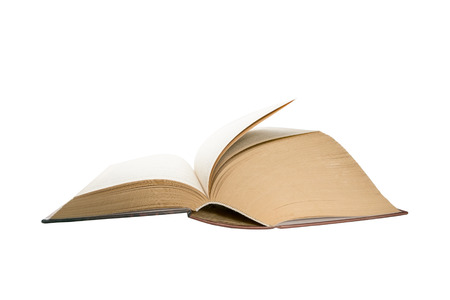 Opened thick book pages isolated on white background. Love read concept. Knowledge symbol. Book day. Banco de Imagens
