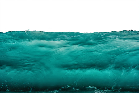 Deep dark turquoise blue underwater background isolated on white. Sea or ocean storm wave front view. Climate nature concept.