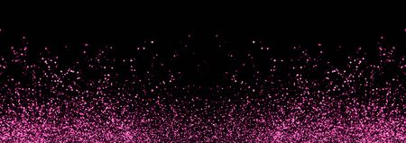 Abstract pink defocused glitter holiday panorama background on black. Falling shiny sparkles. New year Christmas glowing backdrop.