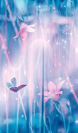 Dreamy spring bellflowers bloom, butterfly close-up, sunlight vertical panorama. Spring floral mixed media art. Delicate delightful romantic artistic toned image. Pastel blue pink toned. Macro with soft focus. Nature greeting card background.
