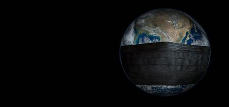Dark Earth with medical black mask protection against virus. Coronavirus globe concept. Banque d'images