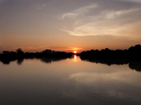 greeting card background: morning beautiful sunrise at sea Stock Photo