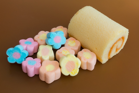 desing: colorful sweet cakes slices and colorful pastry collection Stock Photo