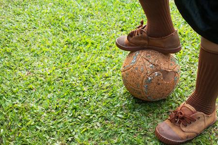 Kick off in soccer game. Stock Photo
