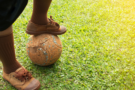 uniform green shoe: Kick off in soccer game. Stock Photo