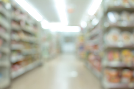 store shelf: Abstract blur store with shelf decoration interior for background or blurred  supermarket with bokeh background. Stock Photo