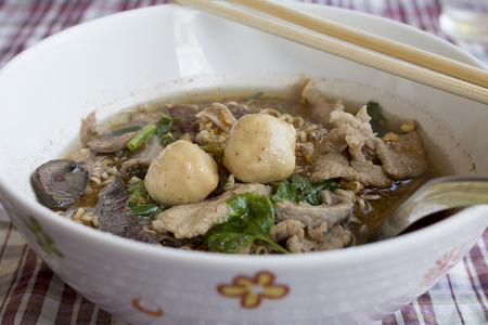 Noodle with Pork, Pork ball and vegetable.