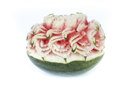 carved watermelon on white background. Stock Photo