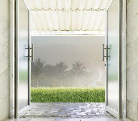 aluminum: Close-up of Aluminum glass door open to outdoor.
