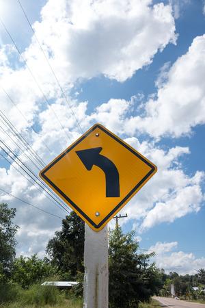 motorizado: Road Signs warn Drivers for Ahead Dangerous Curve.