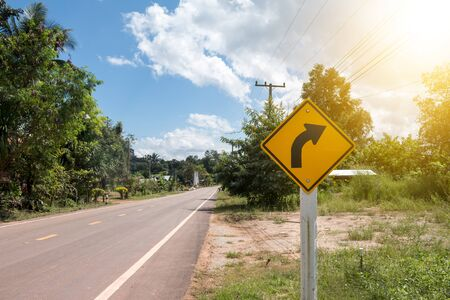 dirty car: Road Signs warn Drivers for Ahead Dangerous Curve.