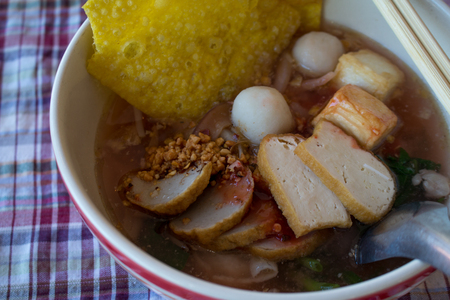 Rice Noodle with Pork ball, pork and vegetable favorite food.