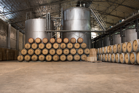 Loei, Thailand - October 16, 2016 :Many Wine fermentation tanks in Chateau de Loei  Winery  on PhuRua Loei, Thailand. Editorial