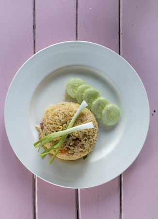Prawn with fired rice in white plate. Stock Photo