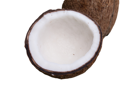 noix: Close up of coconut on green background.