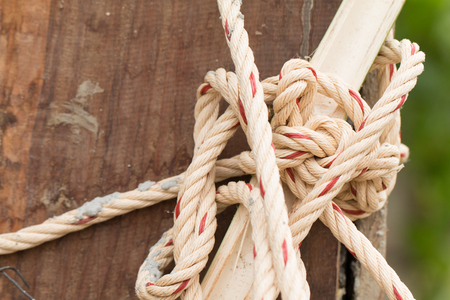 Knotted Rope On Wood. Stock Photo