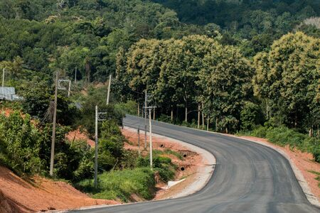 tire tracks: Local road in Loei province, Thailand. Stock Photo