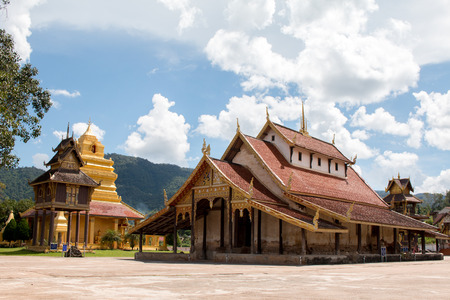 Landscape of Wat Sri Pho Chai temple symbol of Na Haeo Stock Photo