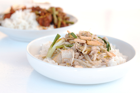 bean sprouts: Rice topped  Stir fried bean sprouts with tofu, Thai food.