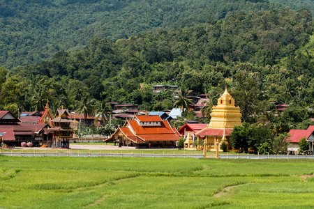 Landscape of Wat Sri Pho Chai temple symbol of Na Haeo, New attractions Of Loei Province on September 08,2017, Loei Province, Thailand.