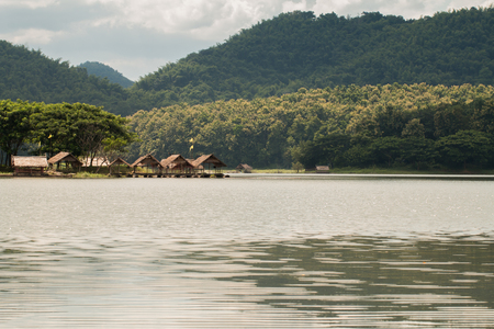 Houseboat with Beautifull views of reservoir mountain is Naam Marn in Loei province, Thailand. Stock Photo