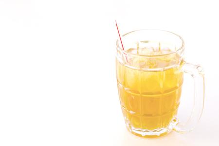 Iced chrysanthemum tea on white background.