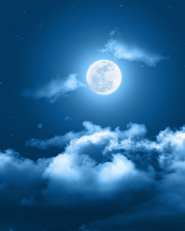 Mystical Night sky background with full moon, clouds and stars. Moonlight night with copy space for winter background. 스톡 콘텐츠
