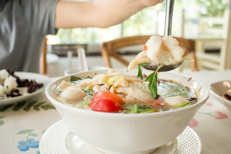 Spicy soup with seafood,Thais food.