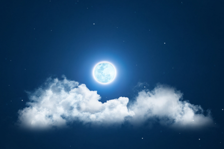 Mystical Night sky background with full moon, clouds and stars. Moonlight night with copy space for winter background. Stock Photo